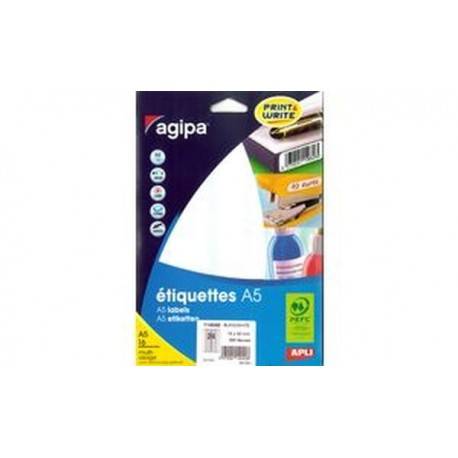 agipa Étiquettes multi-usage, 64 x 133 mm, blanches