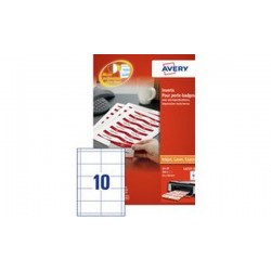 AVERY Inserts imprimables pour badges, 54 x 90 mm, blanc