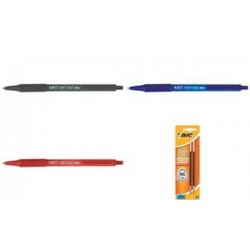 BIC Stylo à bille rétractable Soft Feel Clic grip, rouge