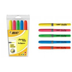 "BIC Surligneur ""Highlighter Grip"", pointe biseautée, étui de"