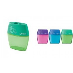 Maped double taille-crayon Shaker, couleurs assorties