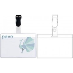 pavo porte-badge, avec clip, 60 x 90 mm, transparent, en