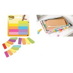 Post-it marque-pages en papier, 12,7x44,4 mm, couleurs