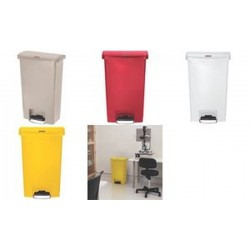 Rubbermaid Collecteur à pédale Slim Jim, 50 litres, rouge