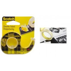 3M Scotch Ruban adhésif double face 665, 12 mm x 6,3 m,