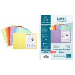 EXACOMPTA Chemises SUPER 250, A4, couleurs assorties