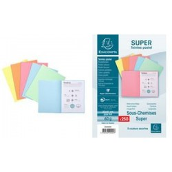 EXACOMPTA Sous-chemises SUPER 60, A4, 60 g/m2, assorties