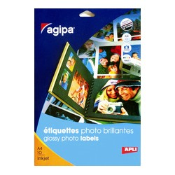 agipa Étiquettes photo brillantes, 210 x 297 mm, blanc