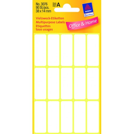 AVERY Zweckform Étiquettes multi-usages, 38 x 14 mm, blanc,